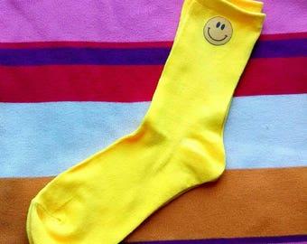 Yellow Smiley Face Socks