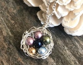 Family Tree Jewelry, Family Tree Necklace, Family Tree Pendant, Family Jewelry, Nest Necklace, Mothers Necklace, Birthstone Pendant