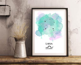 Libra Zodiac print | Horoscope art print | Star sign art
