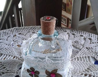Shabby chic glass bottle