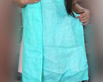 Foam Green Hand spun and hand woven Indian Cotton(khadi) shawl scarf,cotten wrap,