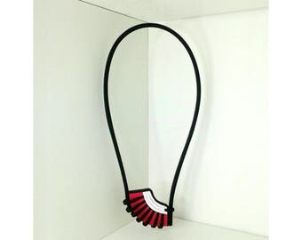 Leather graphic Pop style pendant necklace