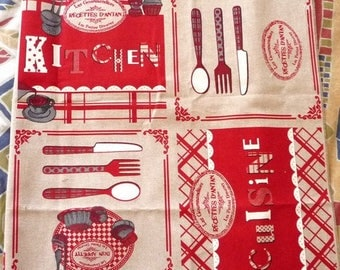 "Fabric ""recipes of yesteryear Kitchen"" cotton gray and Red"