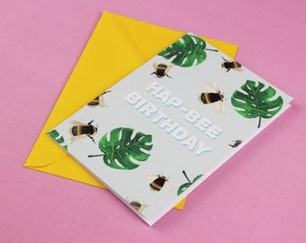Bee card / Anniversary Card / Card for her / Card for him / Blank Card / Bee Print / Bumble bee card / Nature Card / Cute Card / Love card.