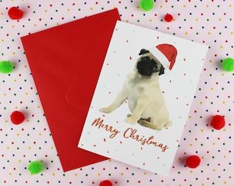 Boyfriend Christmas Card / Pug Christmas card / Christmas Dog card / Fawn Pug Card / Dog Christmas Card / Pug lover card / Pug Illustration.