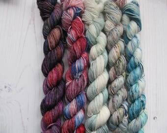 4 PlyMarvel Inspired Mini Set.hand dyed sock yarn.
