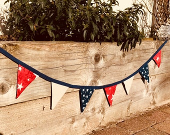 Cotton Double Sided Bunting - Stars and Sail Boats -  Red Beige and Blue - free shipping