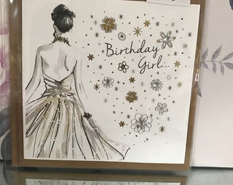 Handmade birthday girl card