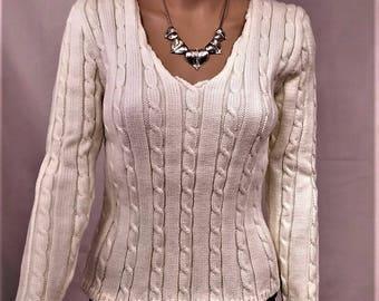 Women sweater, Wool Sweater, pullover, sweater winter warm sweater, off white sweater, sweater handmade sweater, V-neck sweater