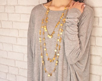 Chains of Gold Classics Necklace - birthday gift - long statement necklace - layered chains