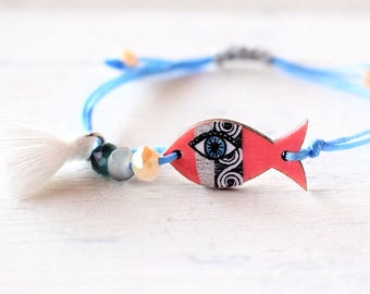 Greek Coral Fish , Summer color Bracelet  , Coral Orange Bracelet