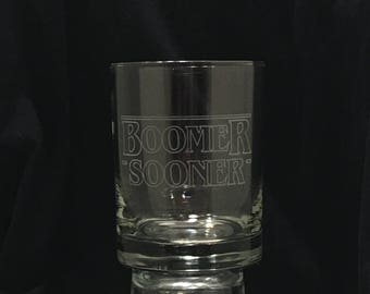 "Great Gift for Oklahoma University fans - ""Boomer Sooner"" (Stranger Things Inspired Font) Etched Double Old Fashioned Glass"