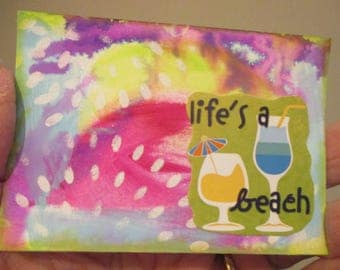 Beach Themed, ACEO Original Art, One of a Kind, Miniature Art, Collectible, Acrylic