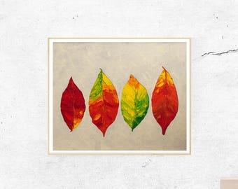 Leaf Print, Autumn Leaf, Digital Print, Wall Art, Digital Download, Digital Art