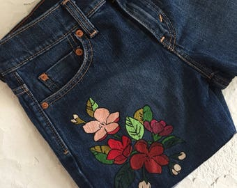 The Lucy: Foral Hand Embroidered Denim Levi's Shorts