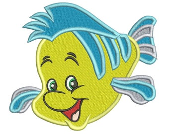 """Flounder The Little Mermaid Embroidery Design Instant Download 3 sizes 4x4"""", 5x7"""", 6x10"""""""