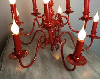 Vintage Chandelier,Red Chandelier, Farmhouse Chandelier, French Country Light, Shabby Chic Lighting, Painted Chandelier, Hanging Light,