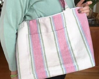 Summer tote//Pink and white Striped shopper//beach//satchel//diaper//bachelorette