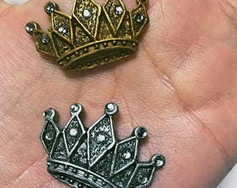 12 Little Crowns Ceramic with Rhinestones - Gold or Silver