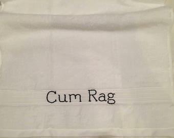 Classic Cum Rag in Medium Clean Up After Sex Eco Friendly Soft Fluffy Hand Towel Size White Male Female Ejaculate Squirt Semen Adult Humor