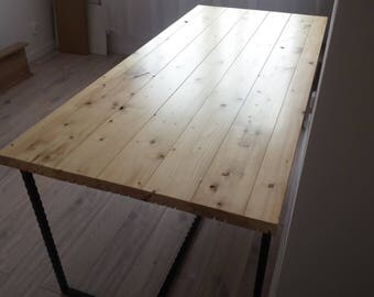 Table, dining table, pine tabletop, metal legs/ Stół Jadalniany, sosnowy blat, metalowy stelaż