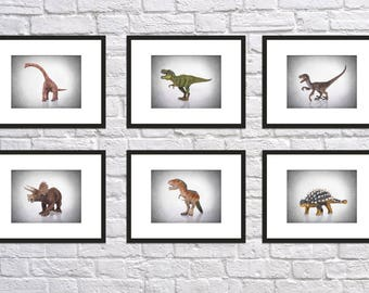 6 Dinosaurs prints, dinosaur decor, dinosaur print, dinosaur wall art, dinosaur poster, boys room decor, kids room decor, dinosaur art