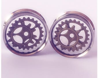 28MM BRASS COG PLUGS! Ear plugs, ear stretchers, ear guages.
