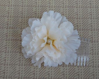 Pin Up Hair Flower// Rockabilly Carnation Hair Accessory// Vintage Inspired Hair Comb