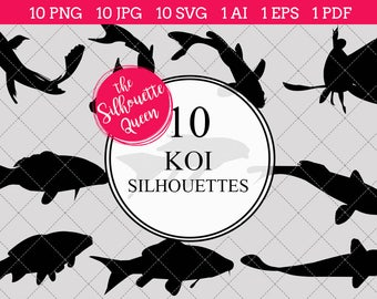 koi fish silhouettes clipart clip art ai eps svgs jpgs pngs