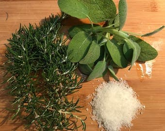 Fresh Rosemary & Sage Infused Sea Salt 10oz