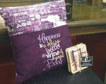 Wine Reading Pocket Pillow - Reading Pillow, Pocket Pillow, Happiness is a bottle of wine & a good Book