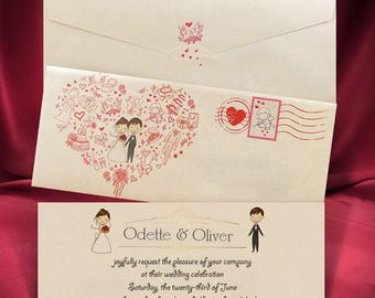 Romantic Wedding Invitation Card with Beautiful Envelope, Love Heart Wedding invitations, Personalized Printing, Free Shipping