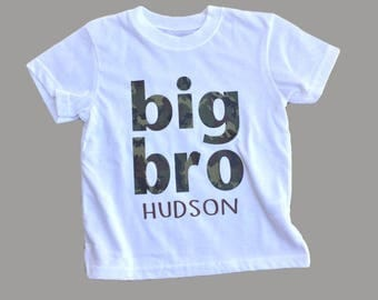 Big brother Tshirt, Big sister tshirt, big bro, big sis, toddler, camo tee