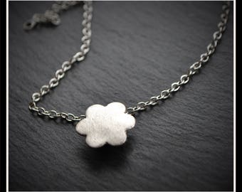Silver Simple Flower Pendant or Hijab Pin - Silver Precious Metal Clay (PMC), Handmade, Necklace, Hijab Pin - (Product Code: ACM084-17)