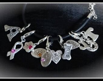 Silver Charm Bracelet (with 6 charms) - Silver Precious Metal Clay (PMC), Handmade, Bracelet - (ACM106-17)
