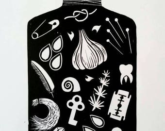 Witch Bottle linocut print - witchcraft occult theme