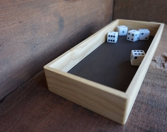 Solid Wood, Ash Dice Tray, 100% Real Leather Base, No Logo, Fits Tower, Low Walls, Short Sides
