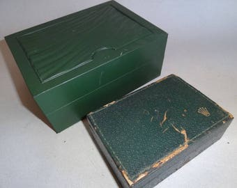 2 ROLEX WATCH BOXES, Swiss Watches 2 Green Cases, Only Boxes