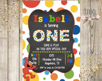 Elmo Birthday Invitation, Birthday Party Invitation, Elmo Birthday, Digital File