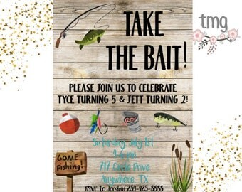 Fishing Birthday Invitation, Boy Birthday Invitation, Fishing Birthday, Take the Bait, Digital File