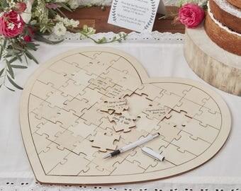 Build A Memory Wedding Guestbook Alternative - Jigsaw Heart Style Wedding Guest Book, Party Keepsake, Baby shower Jigsaw Guest Book