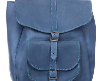 Woman leather backpack/Leather travel bag/Gift Idea for Woman/ Leather backpack/Handbag/ Carry all Bag/ Womens Rucksack/ Blue backpacks