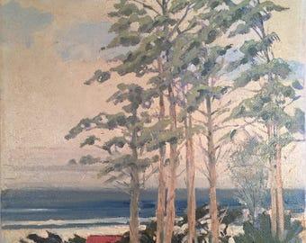 San Francisco, Northern California Sea Scape Oil Painting with Trees / Original Signed California Coast Artwork