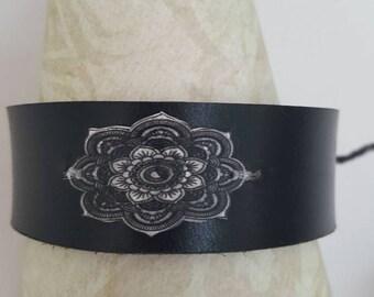 Black leather mandala cuff