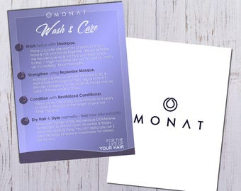 Monat Wash Instruction Cards - Full Color Front & Back  -PRINTED and shipped directly to YOU!
