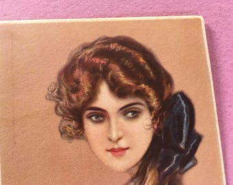Italian 1918 Corbella original vintage postcard, Lady with blue ribbon, First World War, love letter