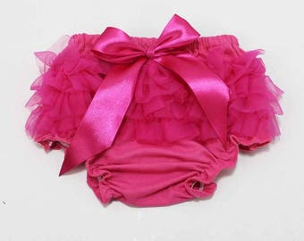 Hot pink, baby bloomers, baby diaper cover, ruffler diaper cover, ruffle bloomers, bow bloomers, baby girl, photoshoot prop, bloomer