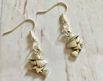 Halloween earrings, witch earrings, dangly witch earrings, ladies witch earrings, cute witch earrings, witch charm earrings, ladies gift,