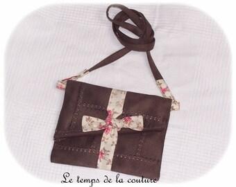Wristlet - chocolate brown, ecru and pink tones - faux - handmade.