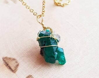 Emerald green druzy etsy dioptase necklace dioptase cluster necklace druzy pendant green gemstone necklace emerald wire wrap necklace gift for aloadofball Choice Image